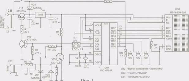 Принципиальная схема частотомера изображена на рис.1. Его основа- микроконтроллер PIC16F84A, который осуществляет.